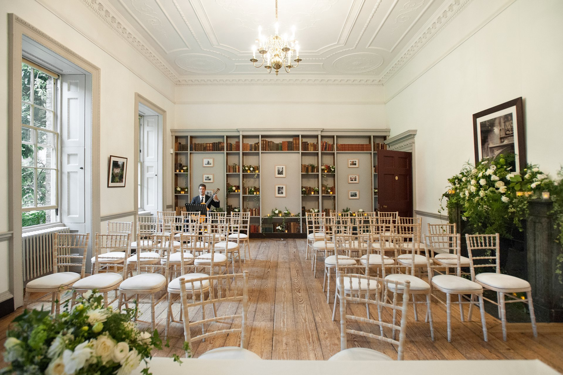 The Bishop Terrick's Drawing Room at Fulham Palace laid out for a civil marriage ceremony by Hammersmith & Fulham Registry Office