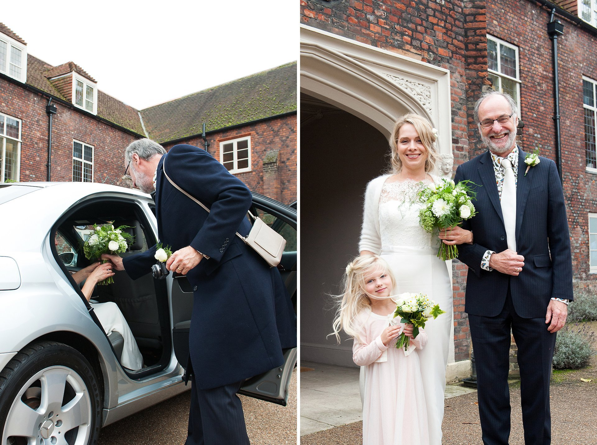 Bride, her father and daughter arrive in Fulham Palace's historic courtyard with fountain for a civil ceremony