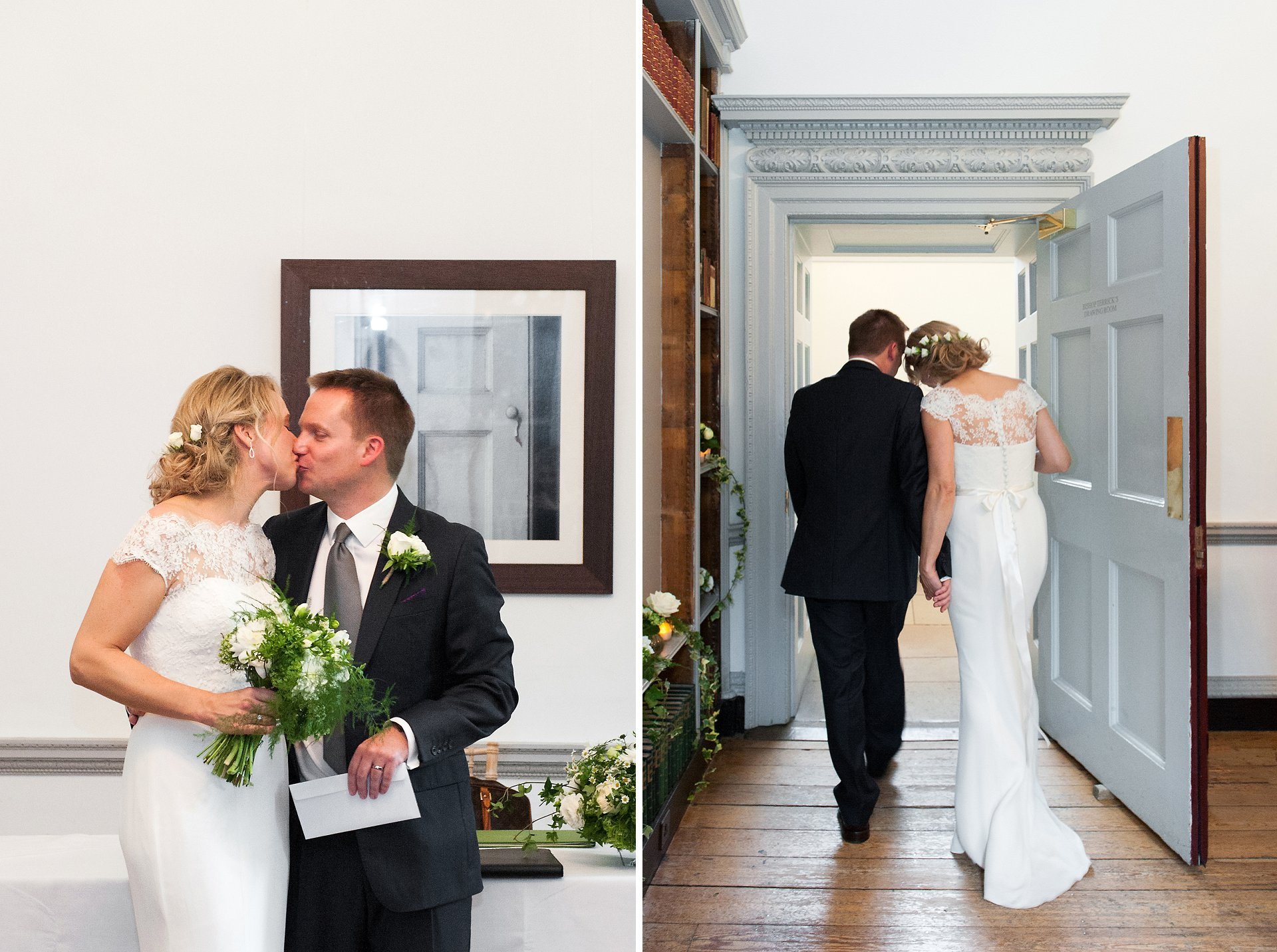The pretty and romantic Bishop Terrick's Drawing Room is a wonderful space in Fulham Palace for civil ceremonies and the bride and groom kiss before leaving