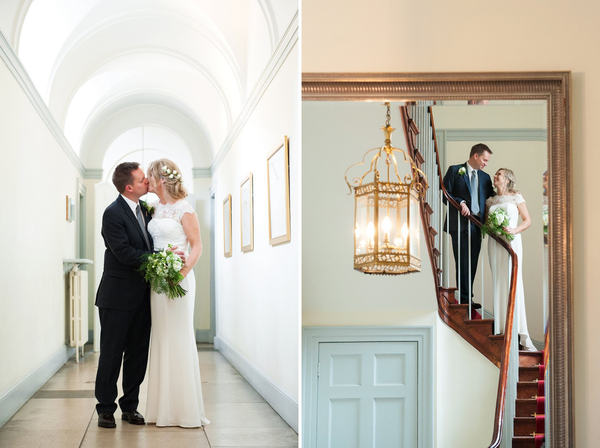A bride and groom celebrate their Fulham Palace wedding outside the Bishop Terrick's Drawing Room and on hte sweeping red carpeted staircase