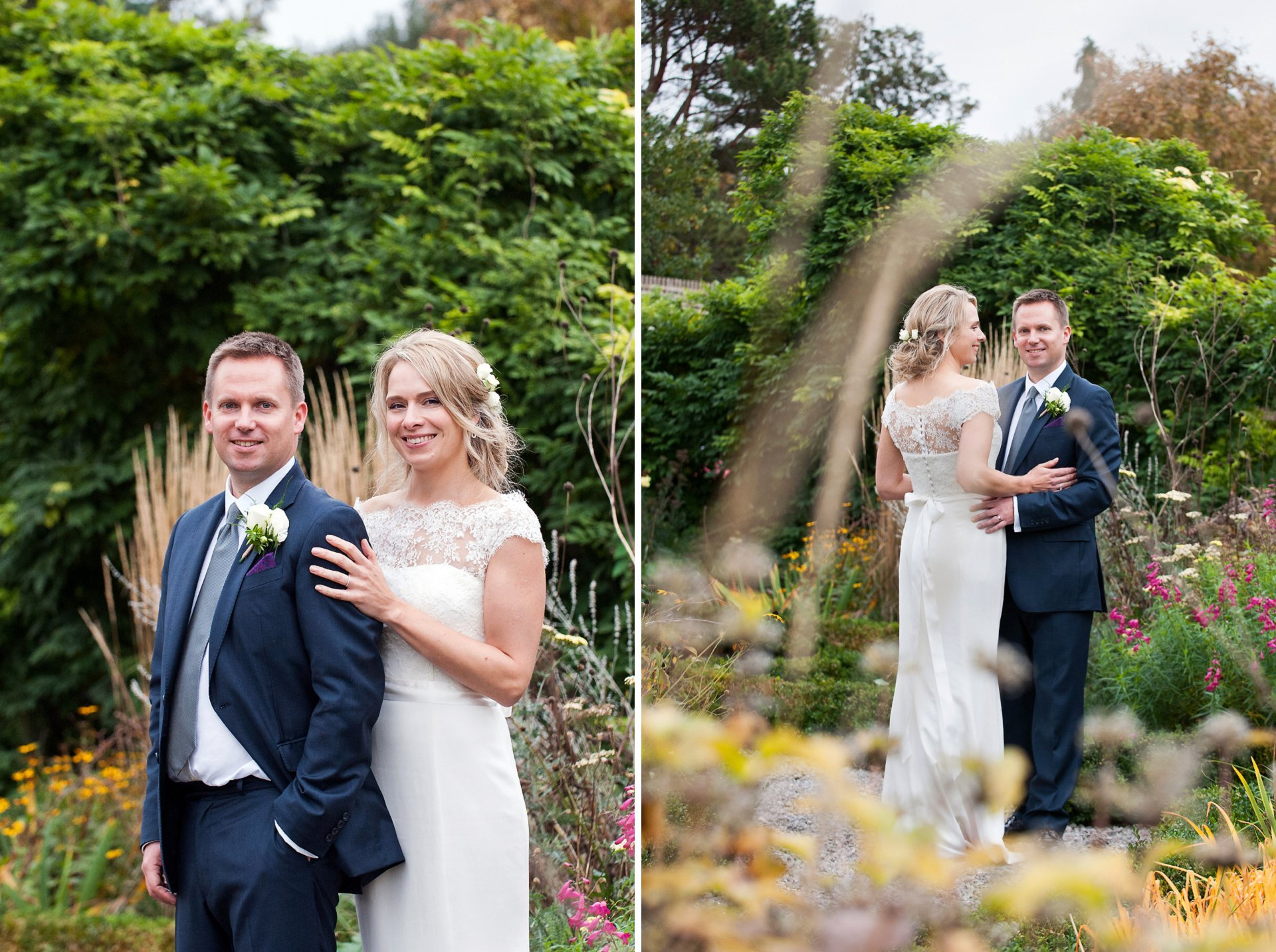 Bride and groom pose for a portrait in the knotted garden at Fulham Palace