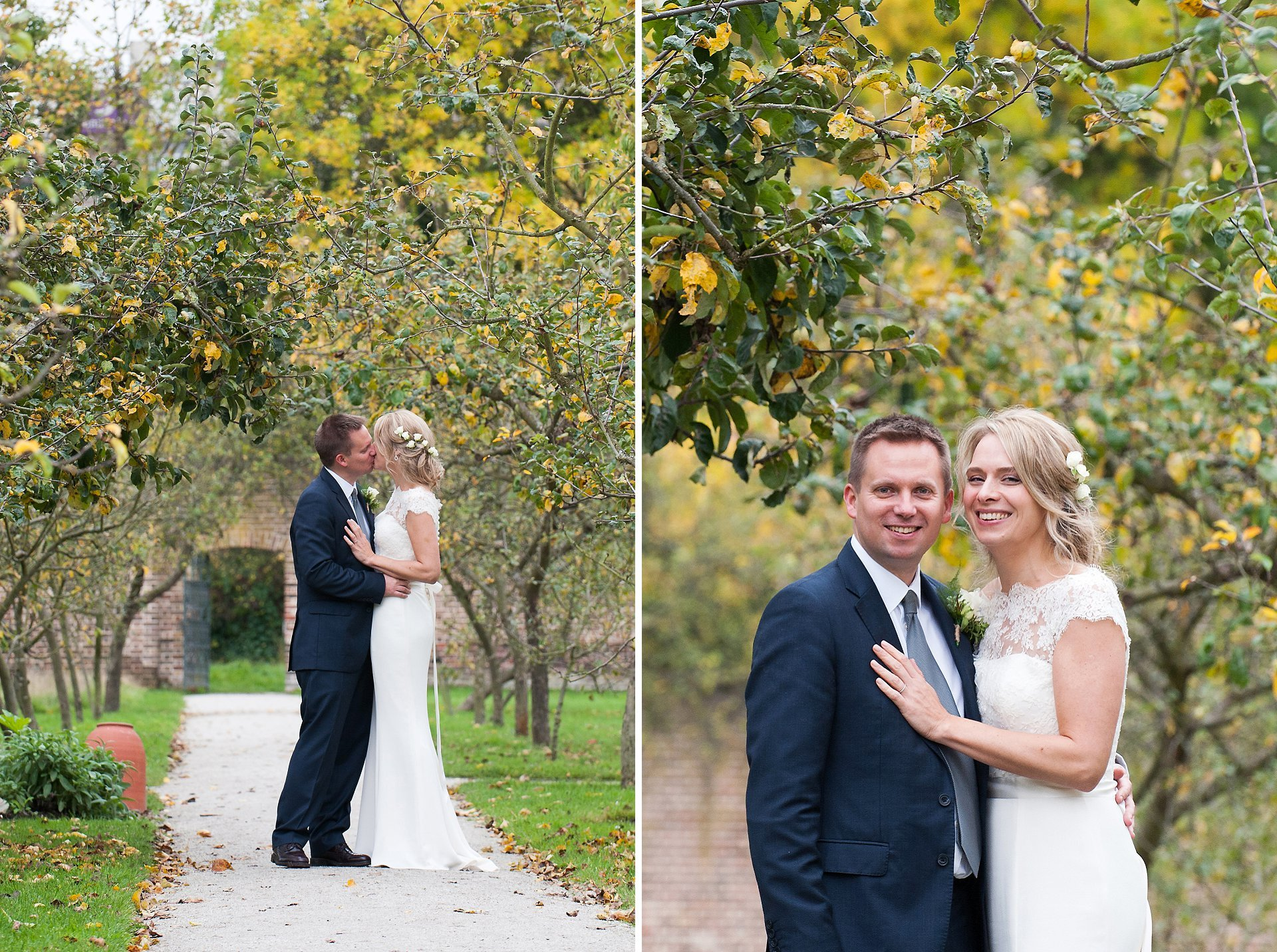 The orchard in Autumn at Fulham Palace is a great backdrop for wedding photography