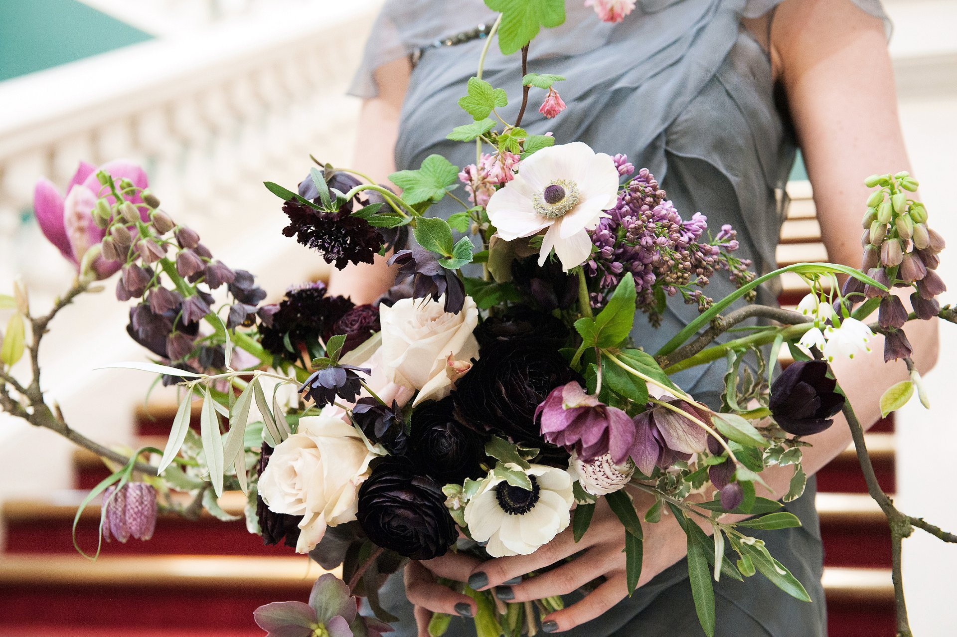 Bridal bouquet using natural, wild and wondrous British cut flowers designed by London florist Bloomologie for this small Woolwich Town Hall Spring wedding