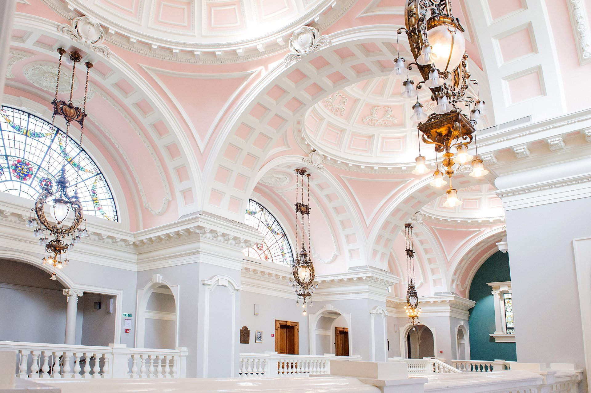 Interior photo of the domed ceilings inside Victoria Hall at Woolwich Town Hall by Emma Duggan Photography