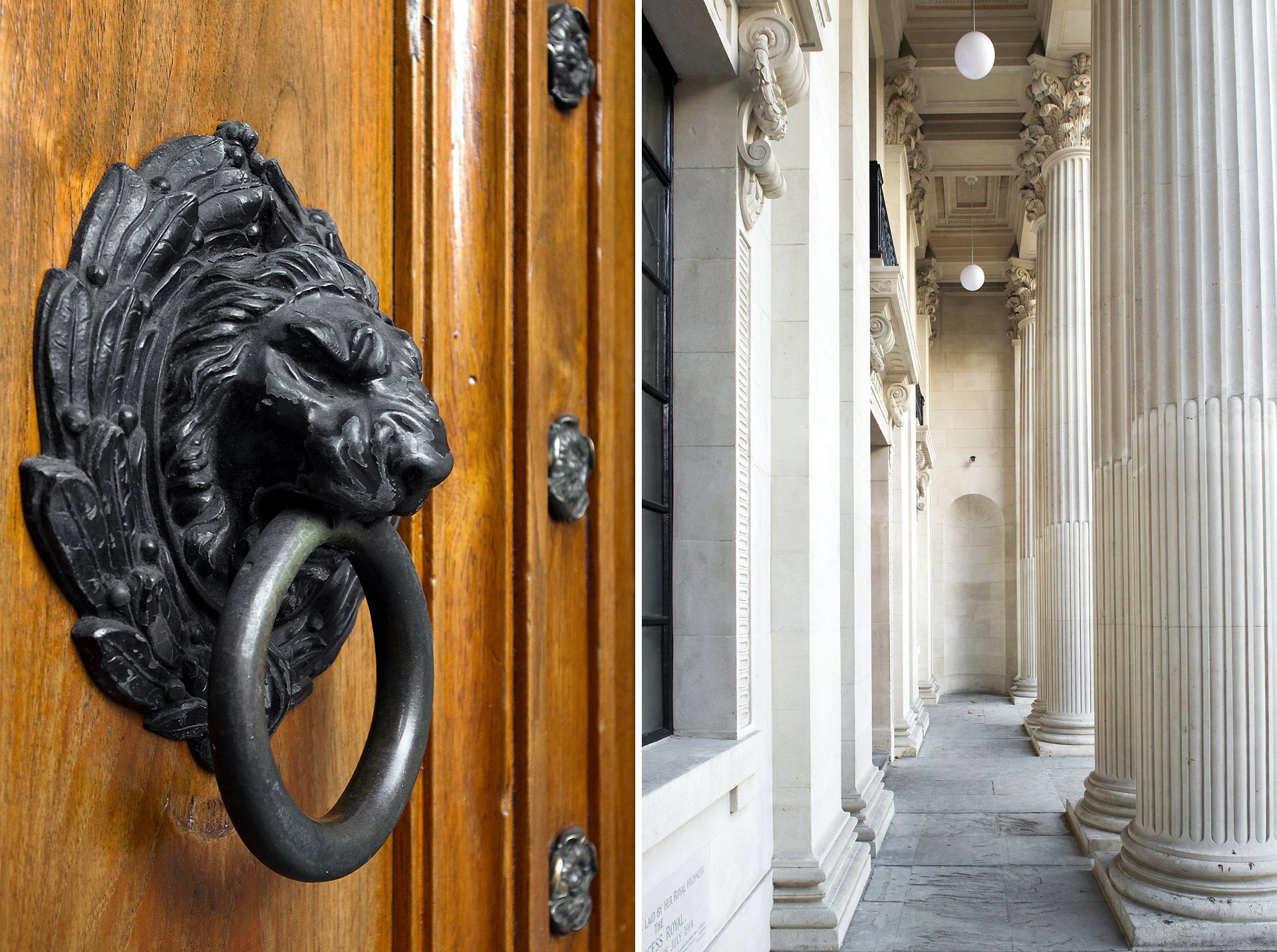Lion door knocker and fluted stone columns outside Old Marylebone Town Hall after extensive refurbishments with cleaned exterior stonework