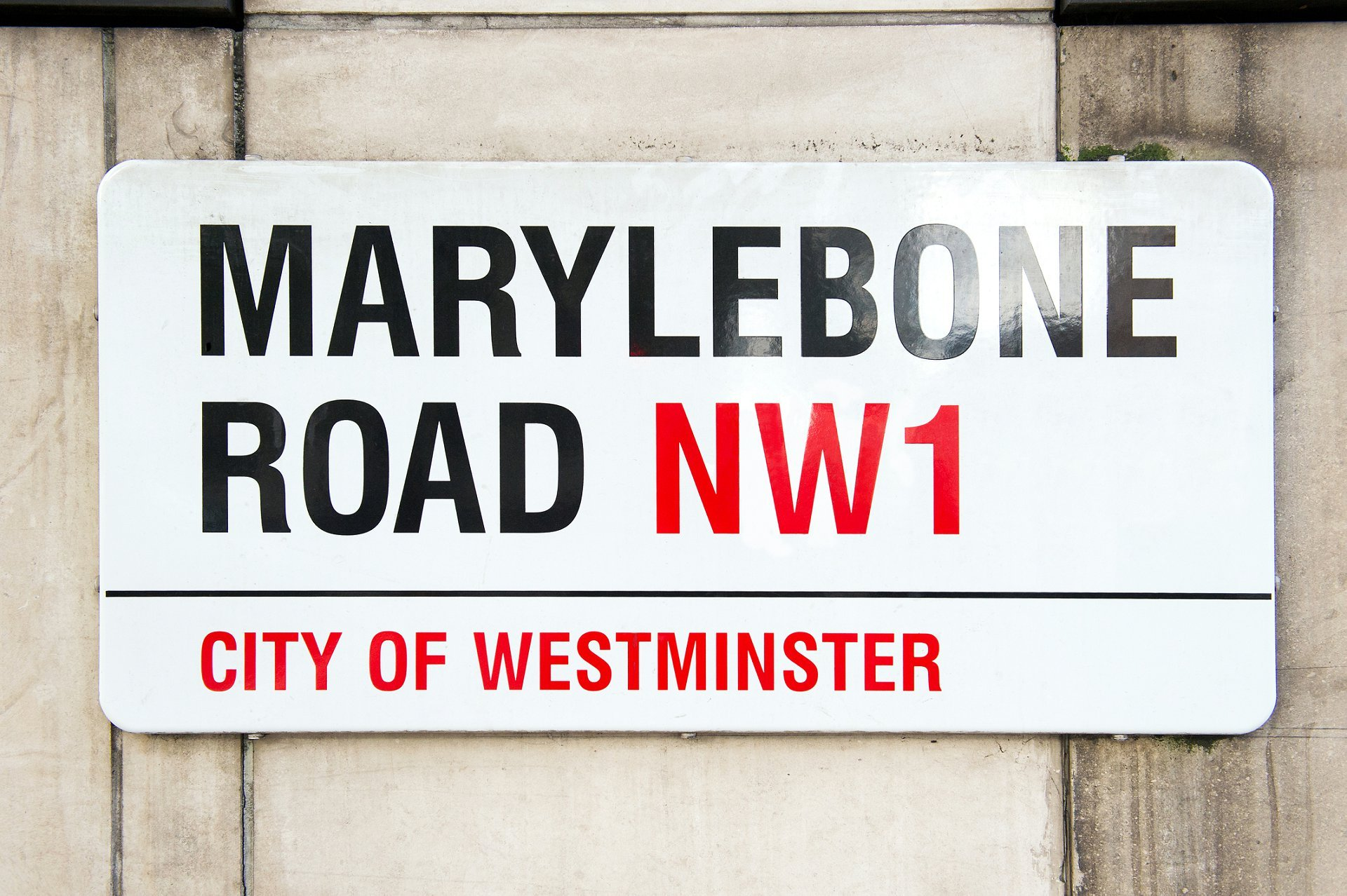 Marylebone Road street sign near Old Marylebone Town Hall, central London wedding venue with wedding photography by Emma Duggan