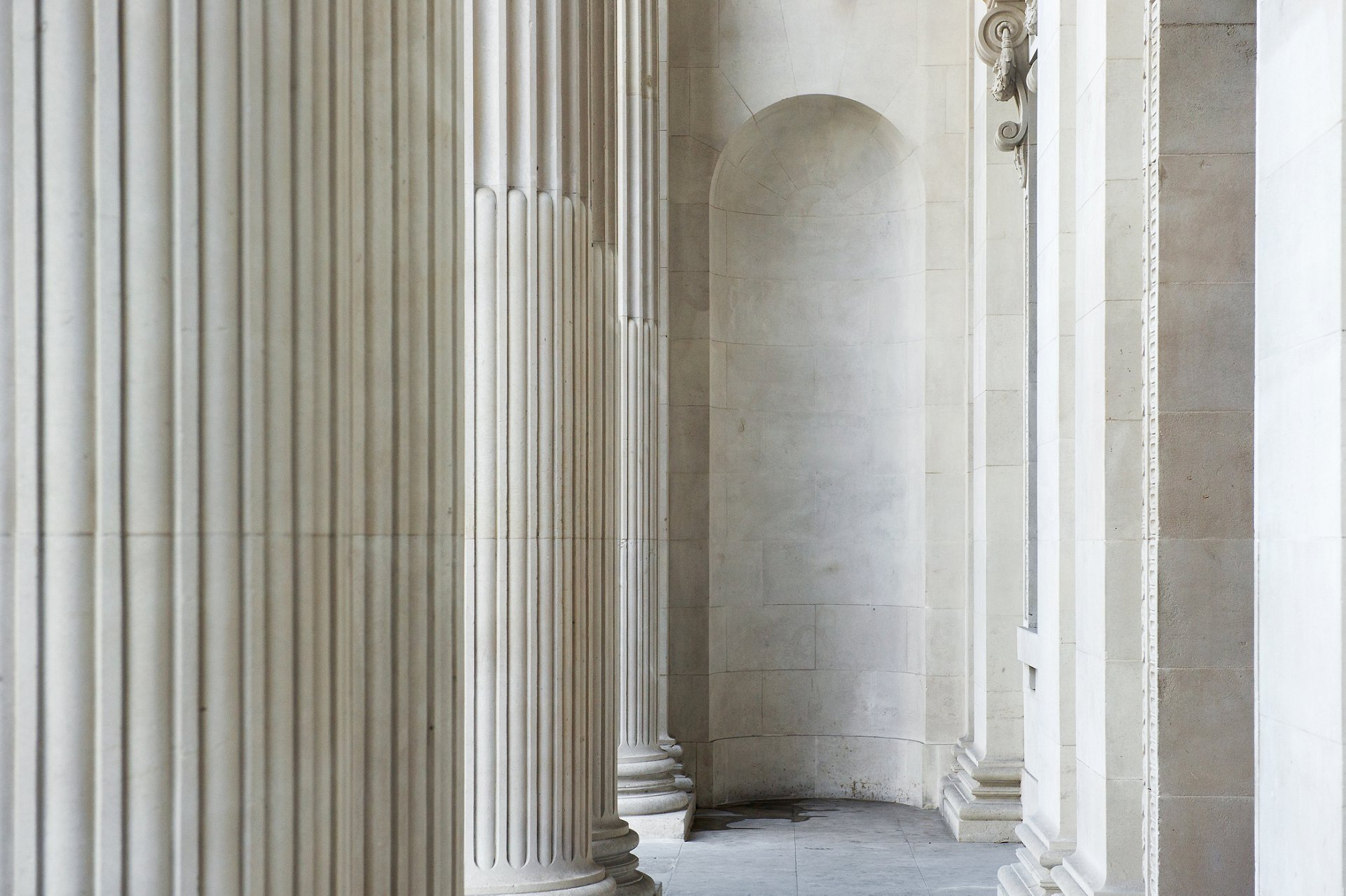 Old Marylebone Town Hall's clean fluted columns after major stoneowrk renovation between 2014 and 2017
