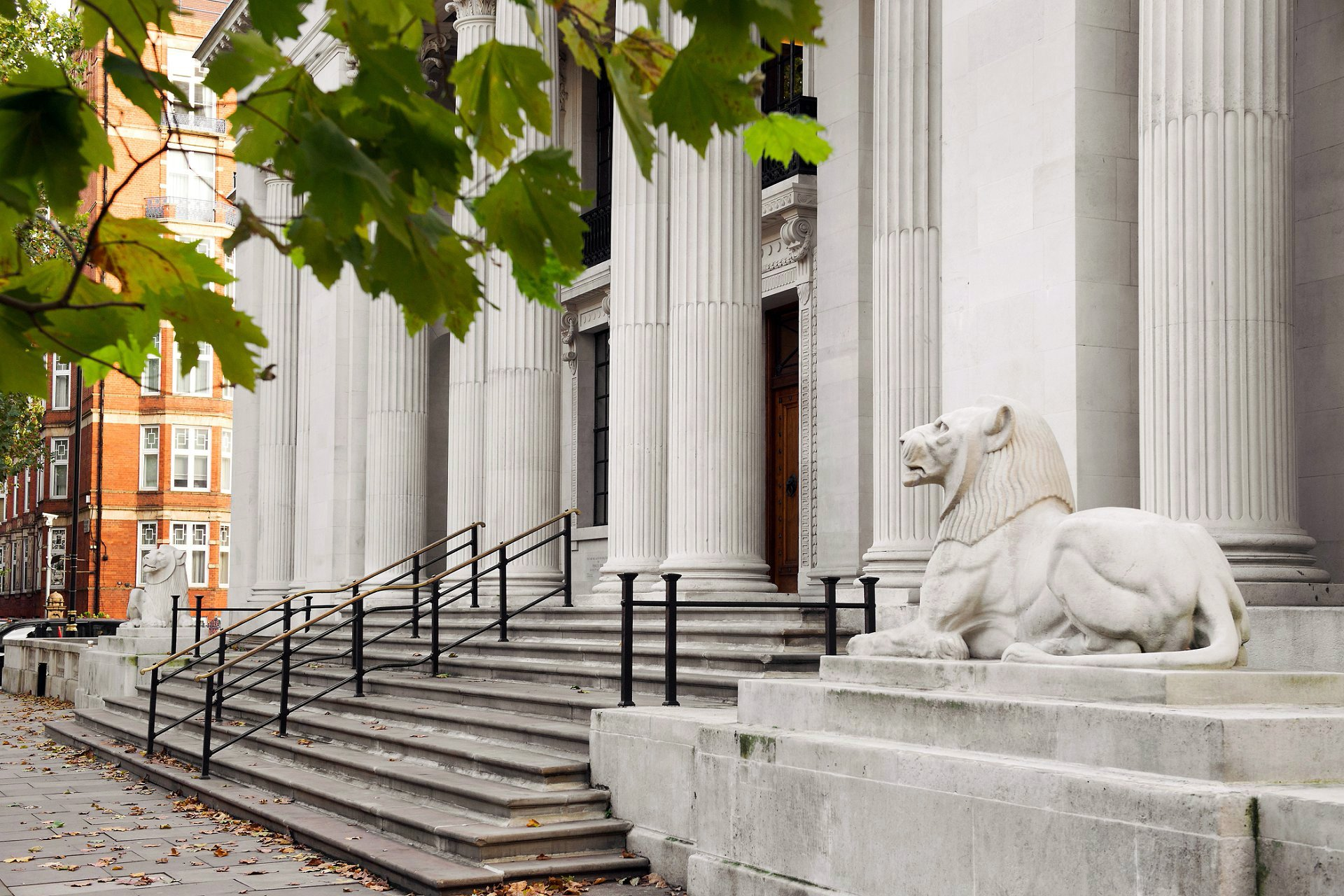 The stone lions, fluted columns, and steps outside Old Marylebone Town Hall taken in Autumn 2017 after cleaning work (photo by taken by Emma Duggan Photography, specialist register office photographer)