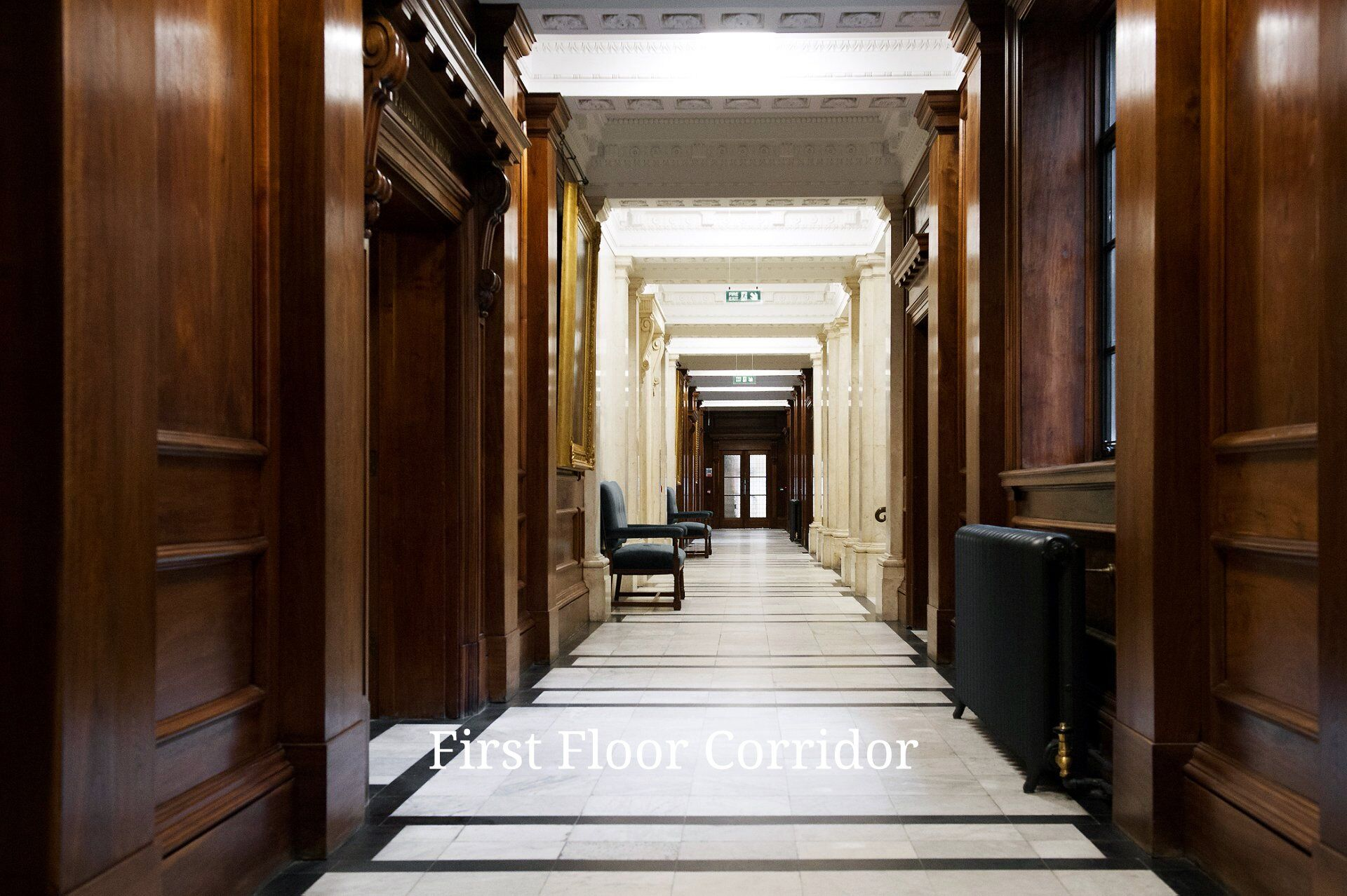 First floor corridor in Old Marylebone Town Hall outside the row of seven ceremony rooms