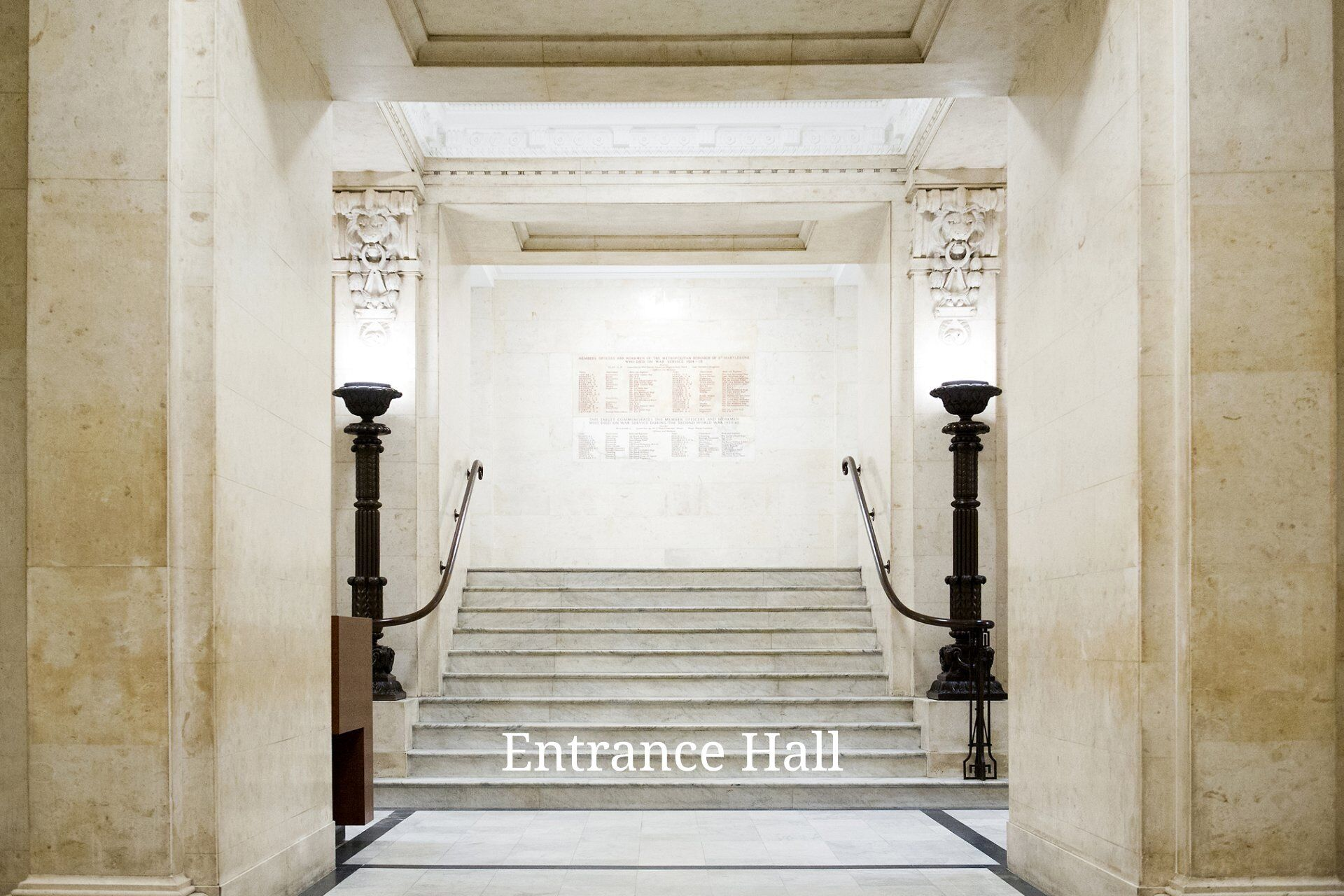 Grand marble entrance hall Old Marylebone Town Hall