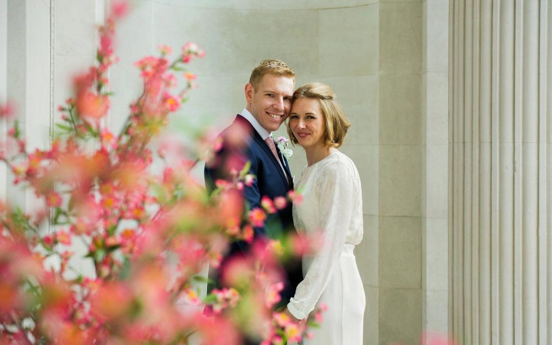 pimlico room wedding photography old marylebone town hall couple outside after their civil wedding ceremony
