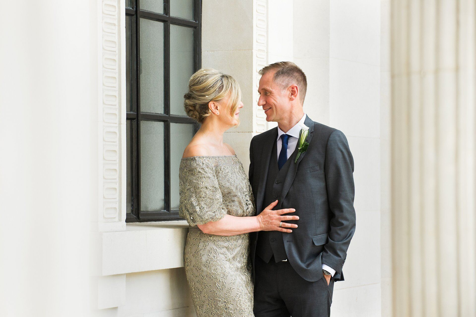 brenda and michael have a private moment after their paddington room wedding