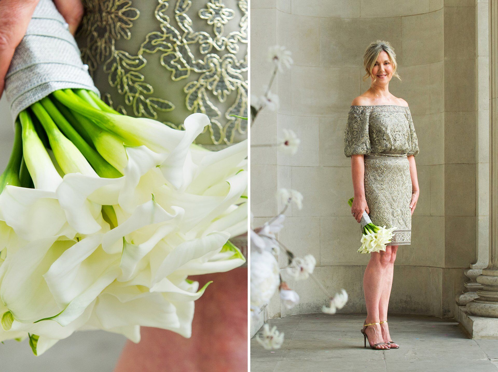 bride in silver grey knee length wedding dress holding calla lilies by westminster register office wedding photographer emma duggan