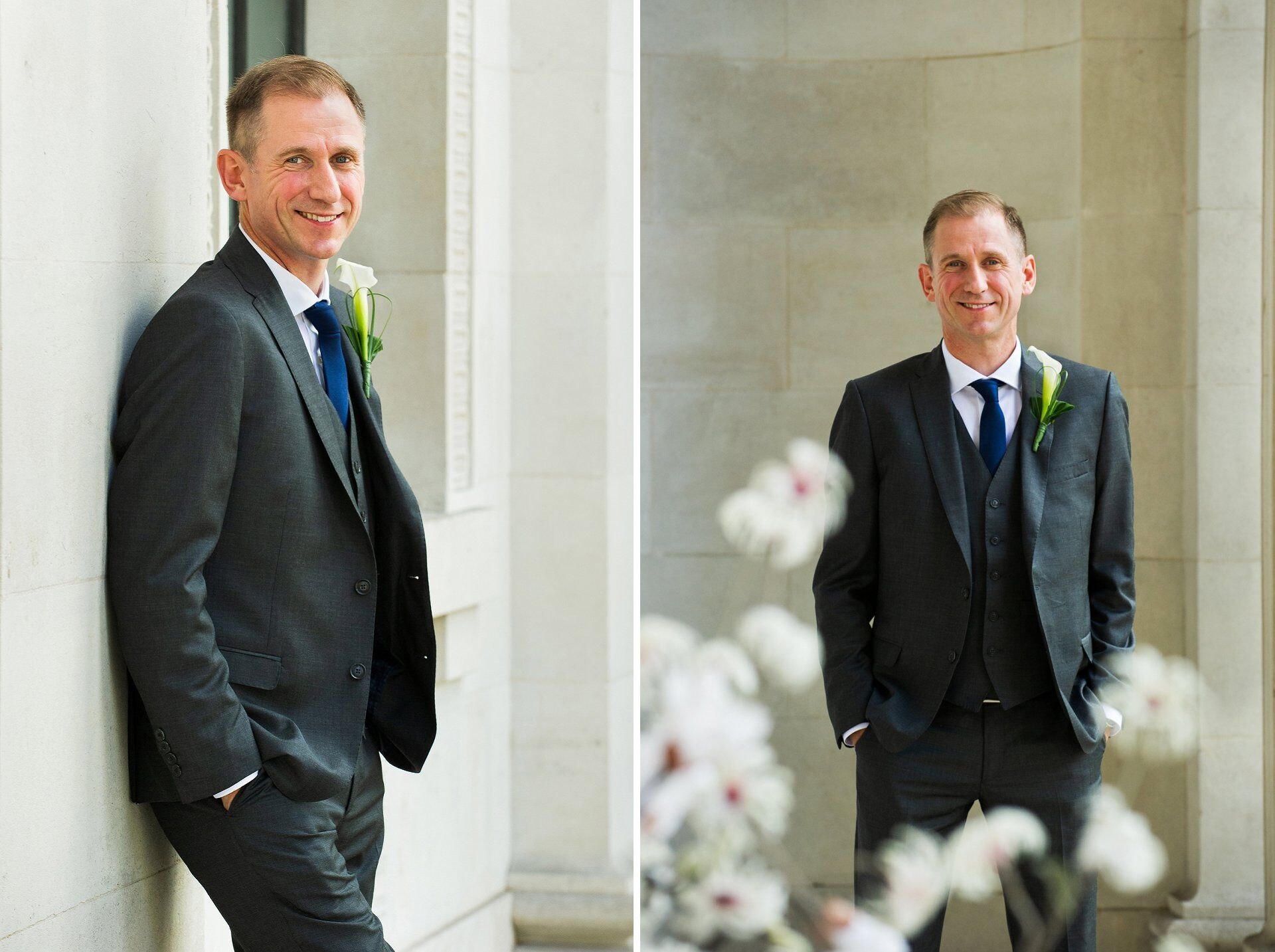 groom wearing a three piece grey suit with blue tie and calla lily buttonhole just before his marylebone register office wedding