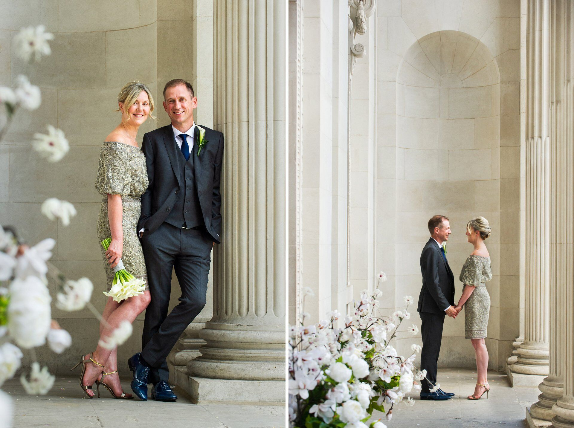 the fluted columns work beautifully for brenda and michaels couple photos at old marylebone town hall
