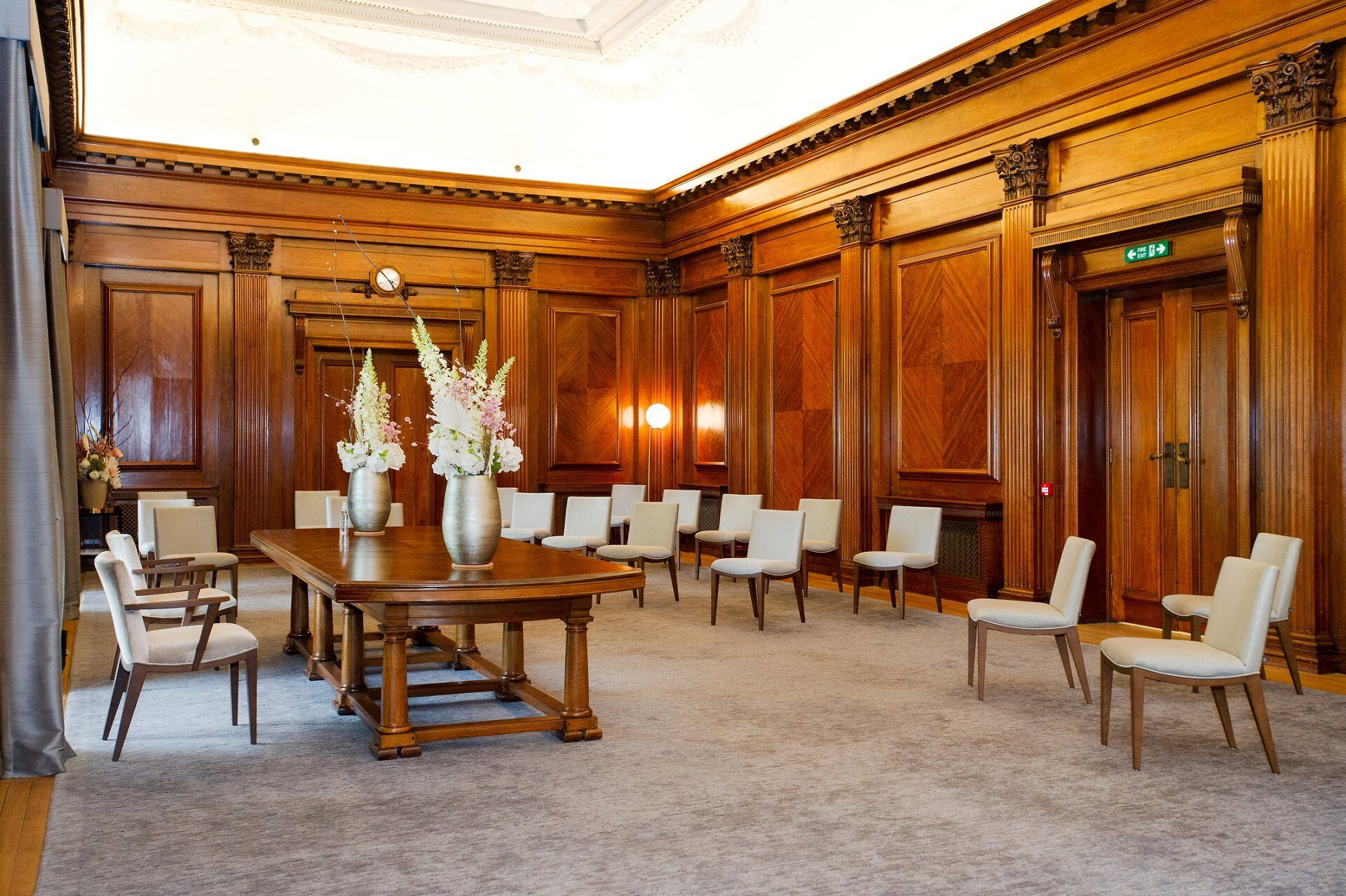 seen from the front the westminster room is still utterly impressive even with a reduced number of guests