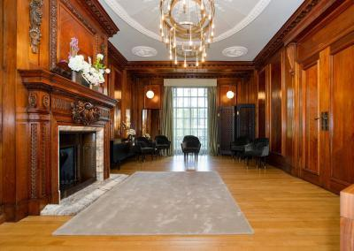 the impressive fireplace will have the couple standing in front during their intimate ceremony