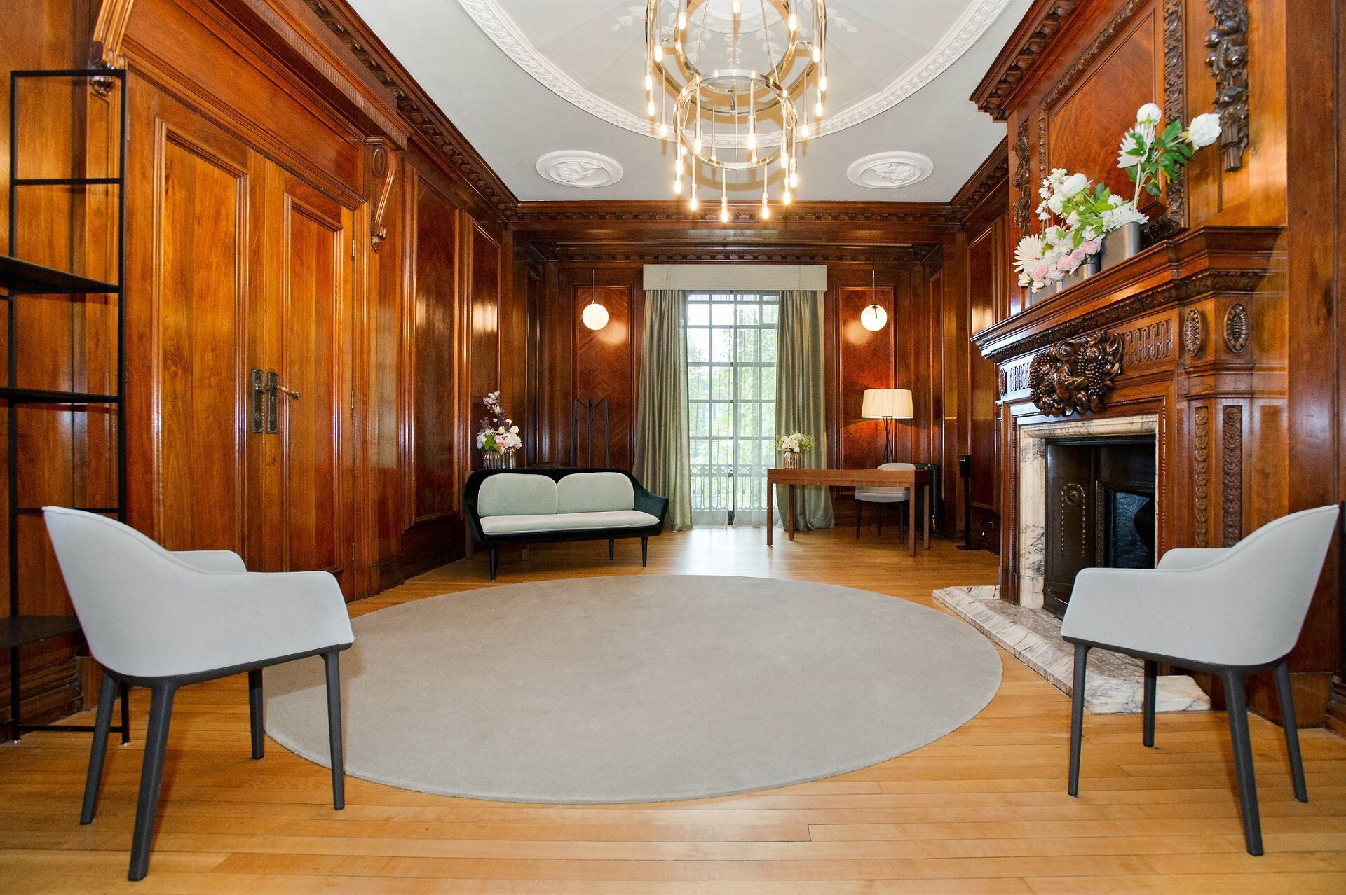 the marylebone room and old marylebone town hall new cerermony layouts here shows seating under new social distancing guidelines with a maximum of 6 guests