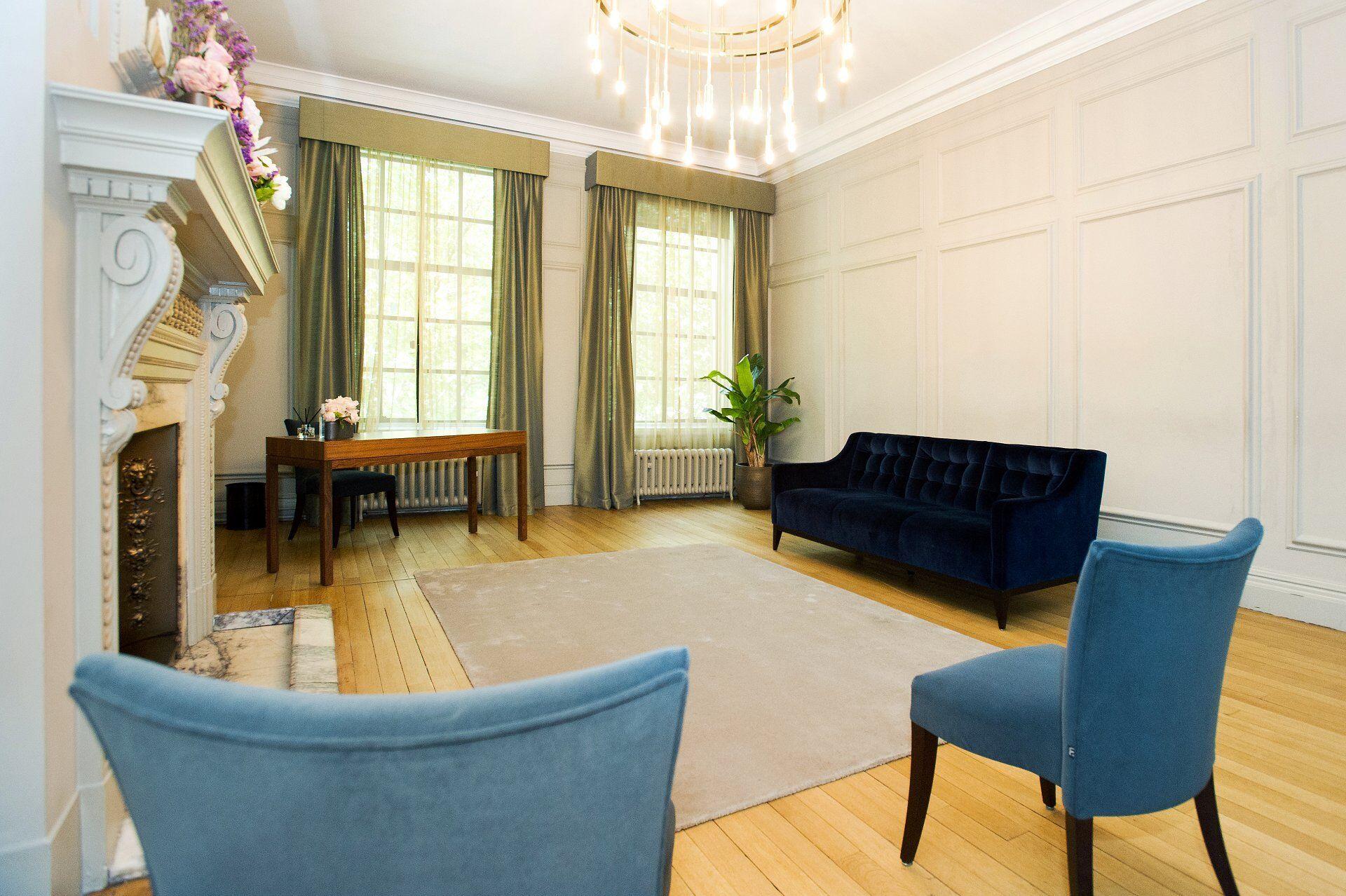 the new coronavirus room layout in the soho room at marylebone registry office